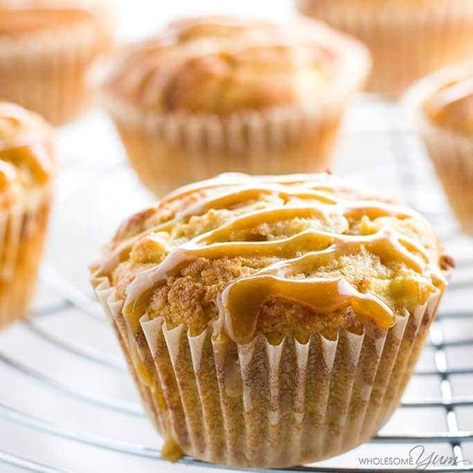 Sugar-Free Apple Muffins With Salted Caramel - Wholesome Yum