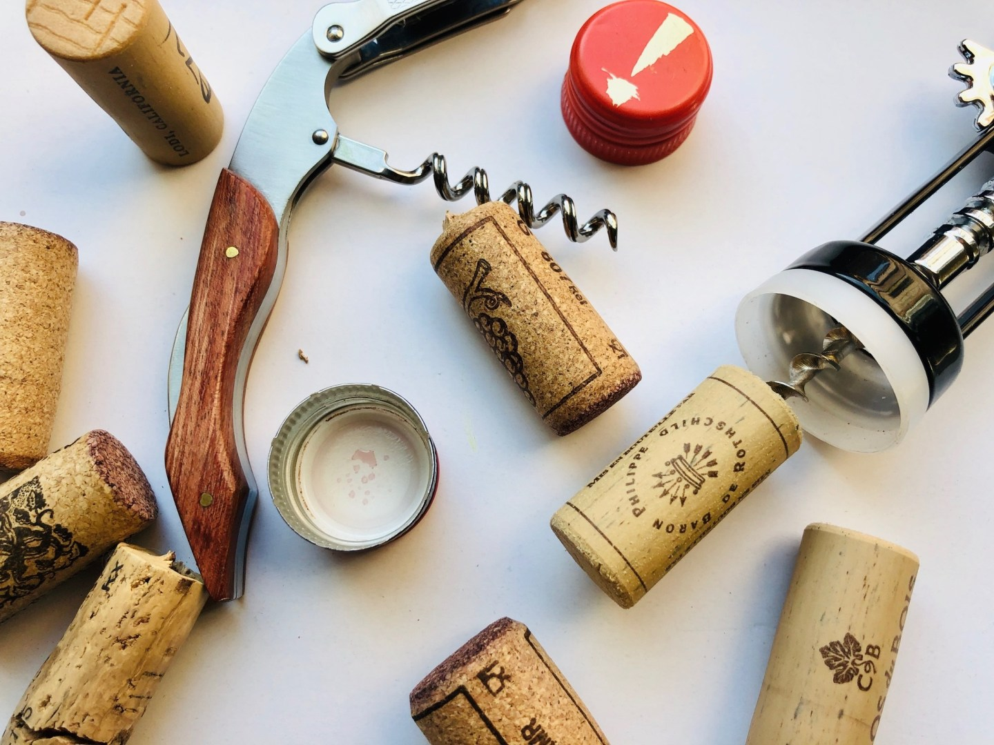 wine waste and used corks and caps