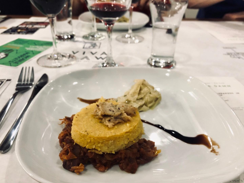 vegan jackfruit ragu with polenta and truffle cashew cheese