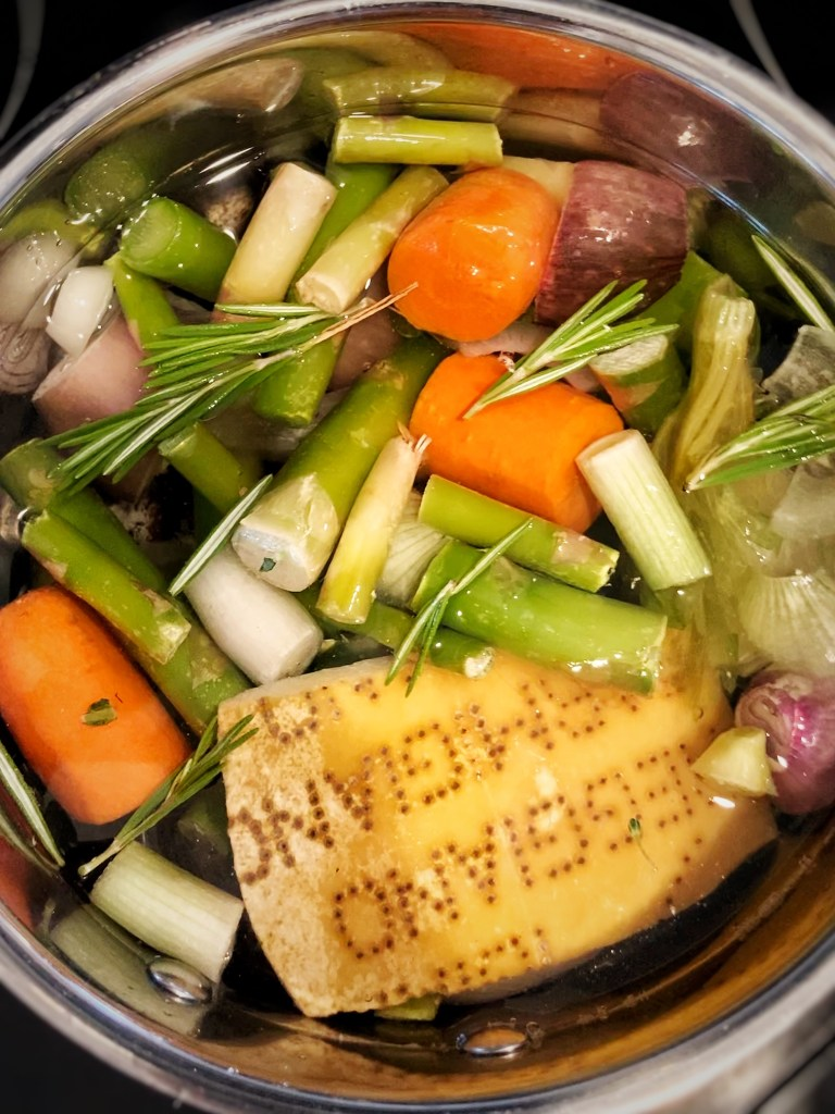 homemade vegetable stock with parmesan rind