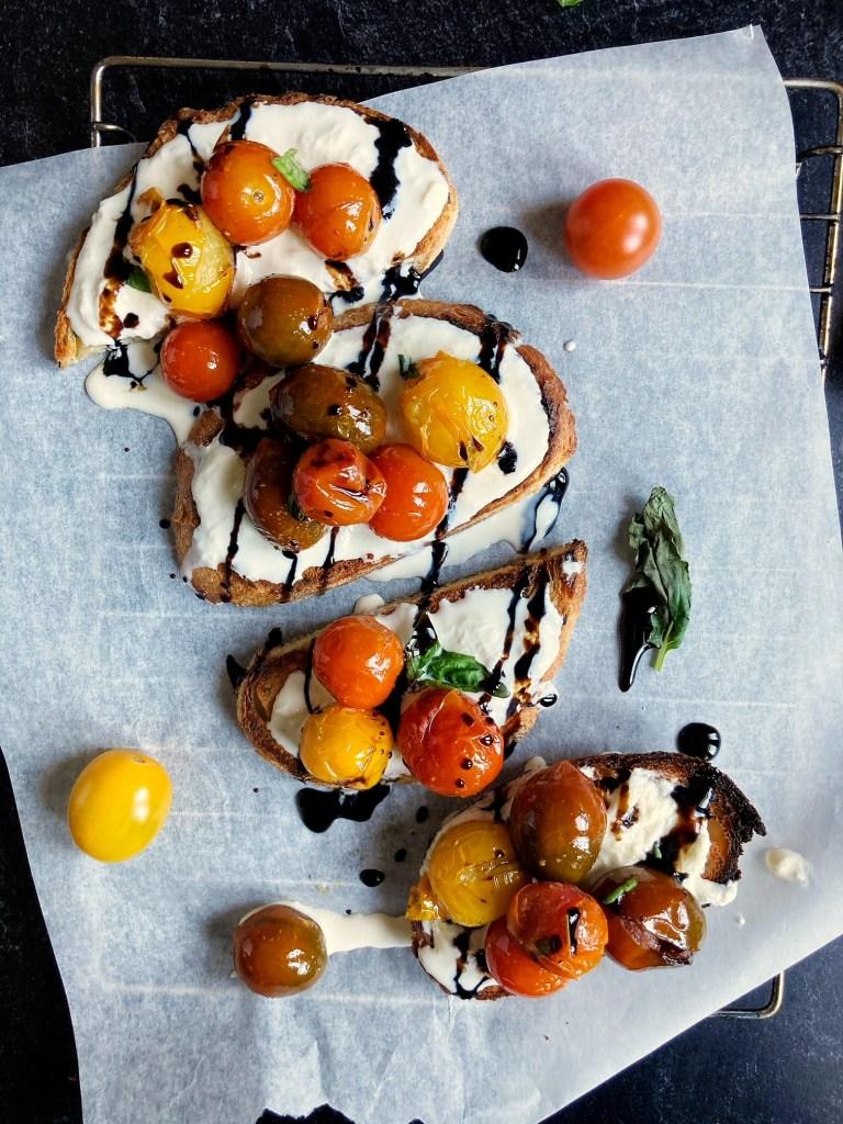 burrata tomato caprese toasts