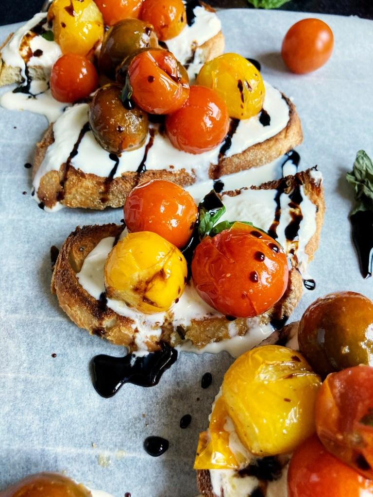 roasted cherry tomato caprese toasts