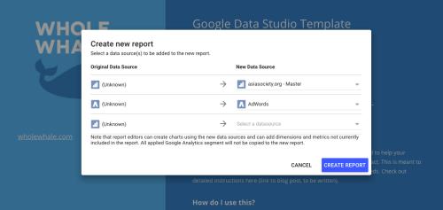 How to use Google Data Studio create new report