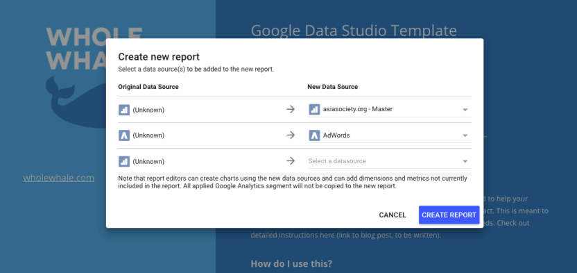 How to use Google Data Studio create new report