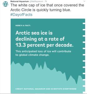 National Aquarium tweet about Arctic Sea Ice
