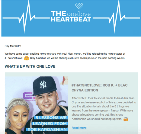 one love foundation works with young people across the country to raise awareness about the warning signs of abuse they are a great example for - Newsletter Examples