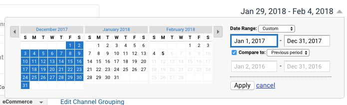 compare time periods in ga