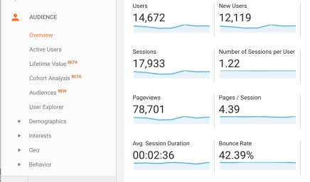screenshot of metrics in google analytics