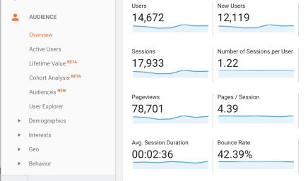 screenshot of metrics in google analytics