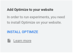 Screenshot of Google Optimize install optimize button