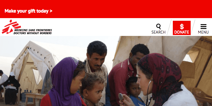 Doctors Without Borders mobile site menu