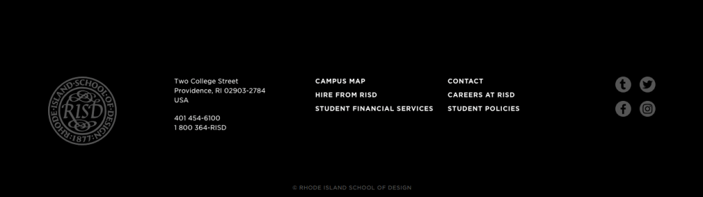 Rhode Island School of Design's footer menu