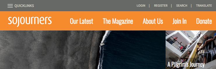 Website navigation for Sojourners