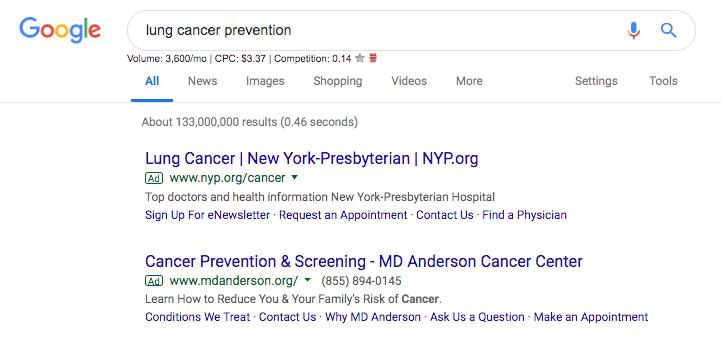 "Google Ads for keyword ""lung cancer"""