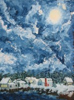 Clouds Snow Oil Painting