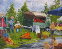 Farmer's Market Oil Painting
