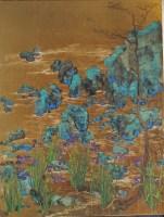 Gold Leaf Iris Painting