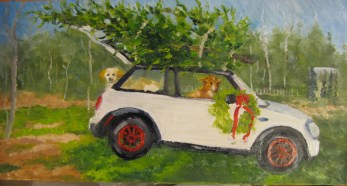 Dogs, Tree and a Little Car