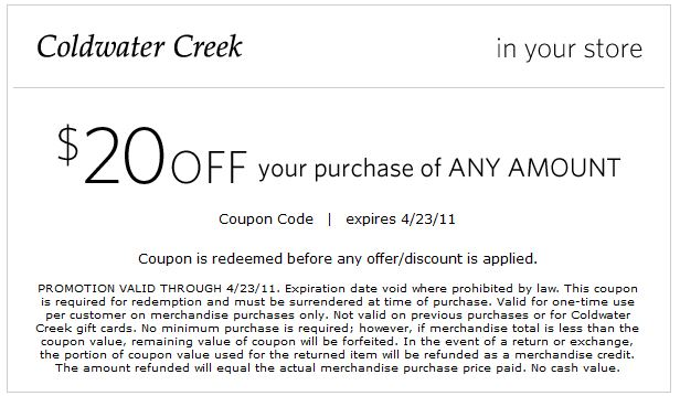 Coldwater Creek Coupons 2016