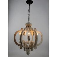 6 Light Wooden Chandelier, Antique White - Chandelier ...