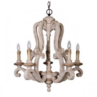 Whoselamp Antique 5-Lights Wooden Candle Chandelier ...