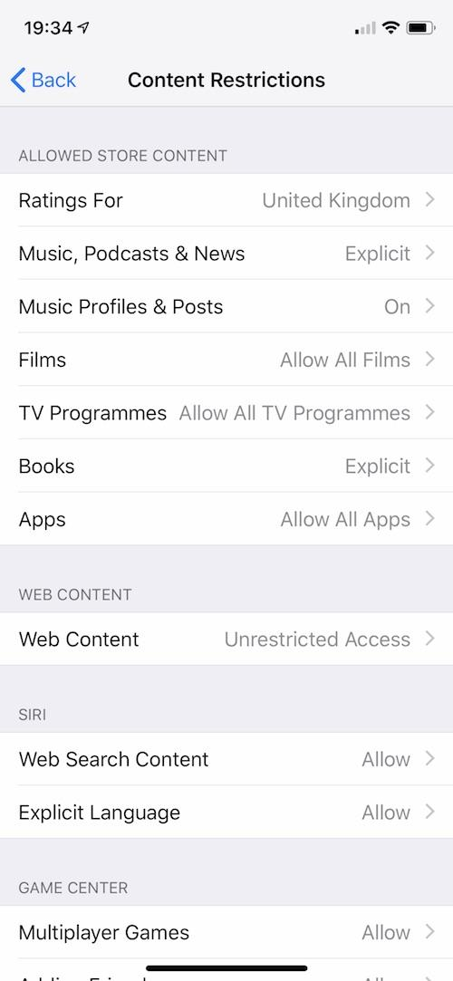 how to set up parental controls on an iPhone