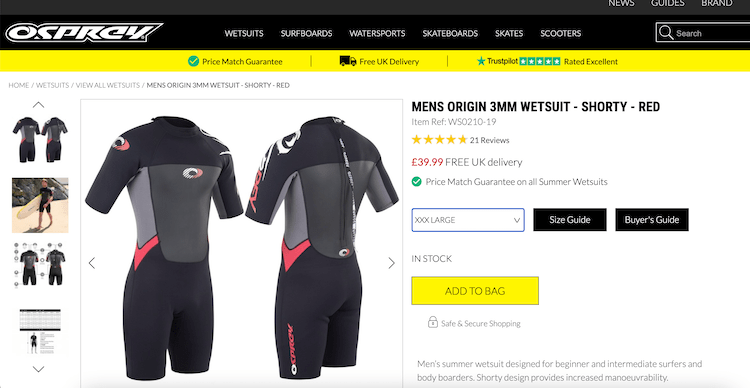 oxs wetsuit shorty 3XL