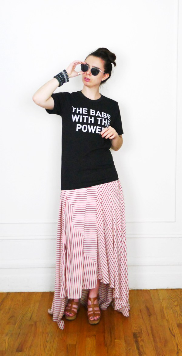 Babe with the Power Tee + Striped Maxi Skirt || Who Wears Who?