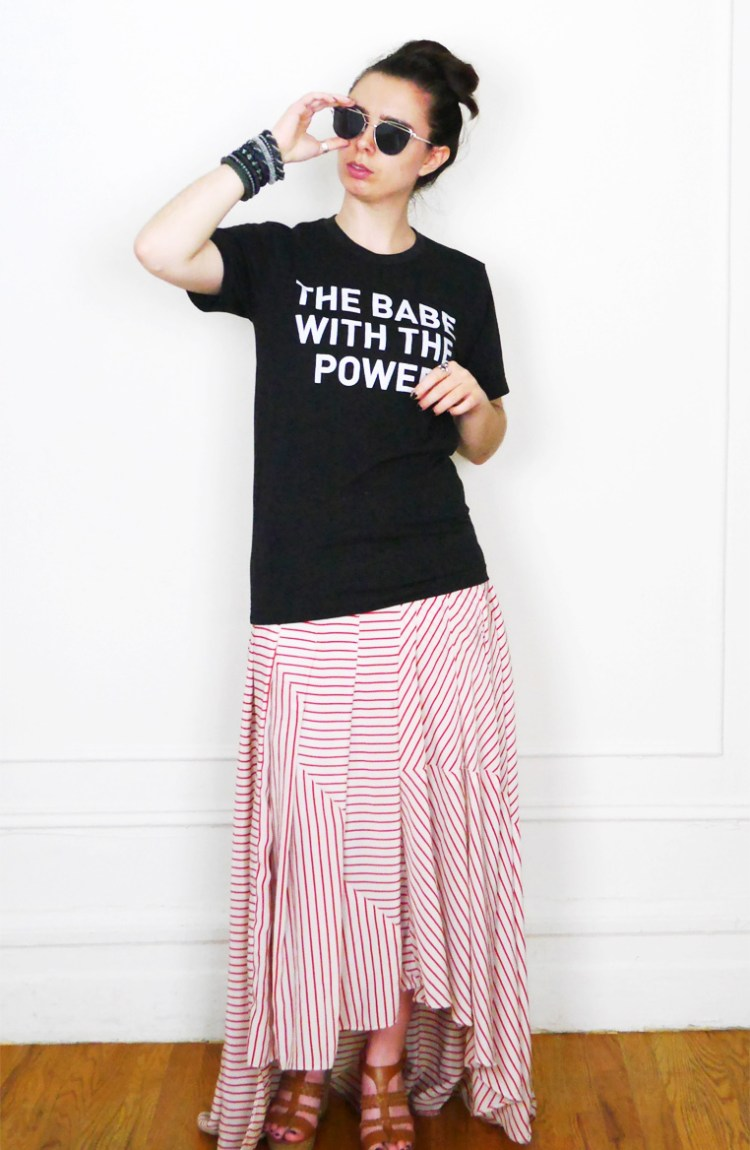 Babe with the Power Tee + Striped Maxi Skirt    Who Wears Who?