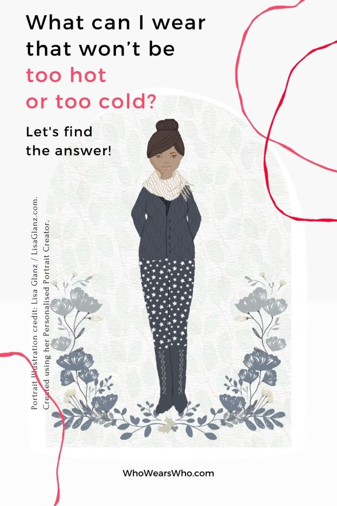 An illustration of a woman trying to dress for the weather in spring and fall blog graphic.