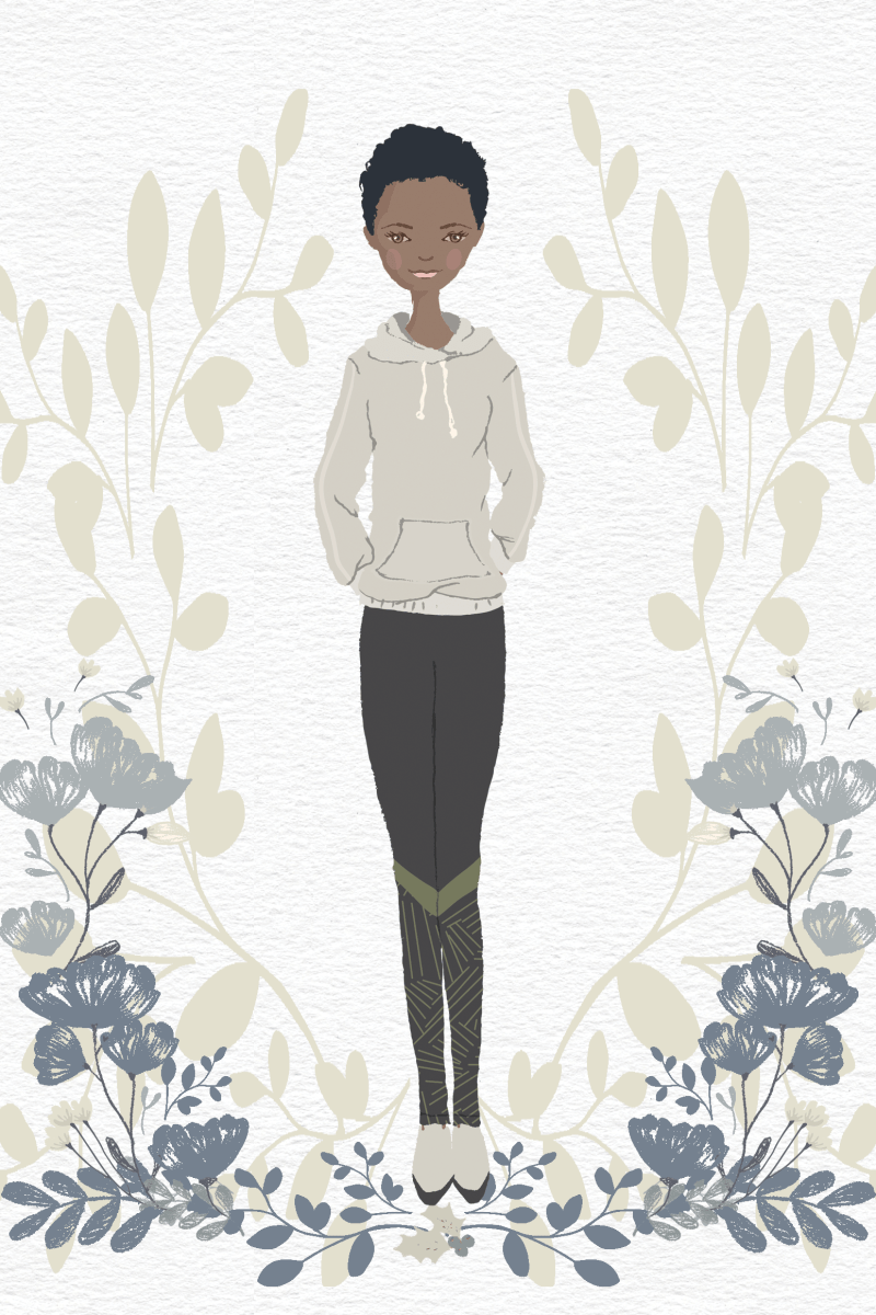 illustration of a woman wearing a grey hoodie, black leggings with a green geometric pattern on them and white sneakers