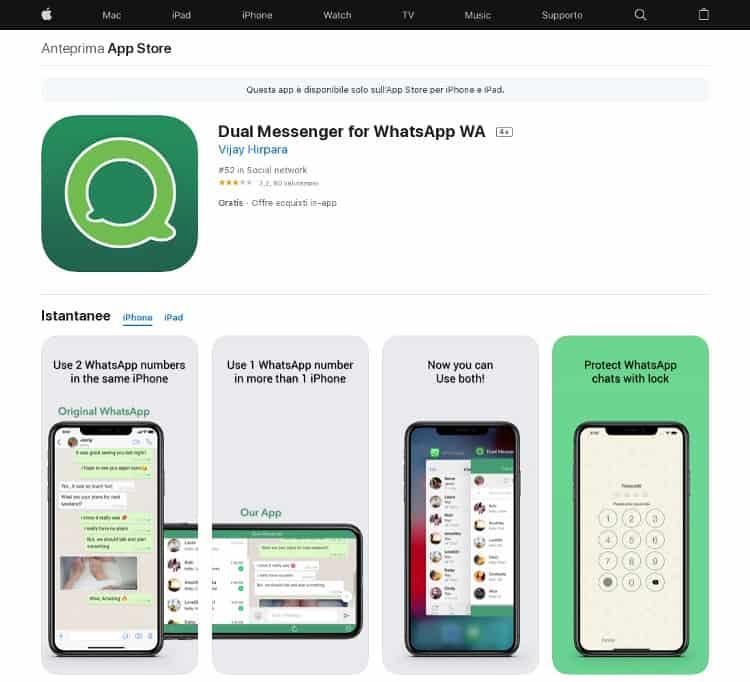 2 numeri whatsapp su stesso iphone