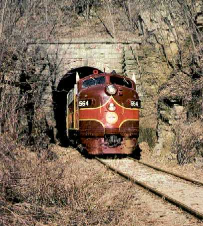 Illinois Central locomotive exiting the south tunnel in 1981