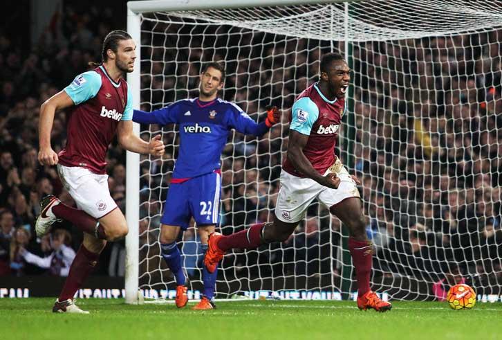 Michail Antonio celebrates scoring against Southampton in December 2015
