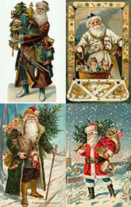 Santa in different color outfits
