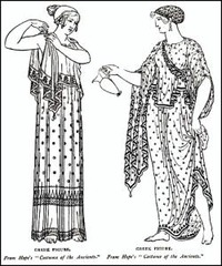 a woolen tunic worn by men and women in ancient Greece ao