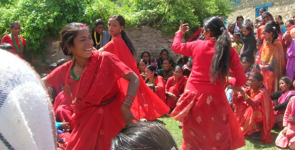 Nepali women in Jumla dancing in Teej