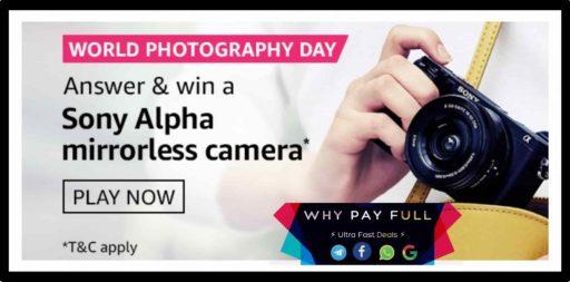 Amazon World Photography Day Quiz Answers Win - Sony Alpha Camera