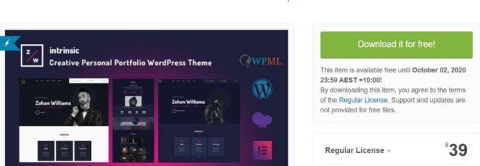 Intrinsic - Creative Personal Portfolio WordPress Free Themes - ThemeForest Free Themes