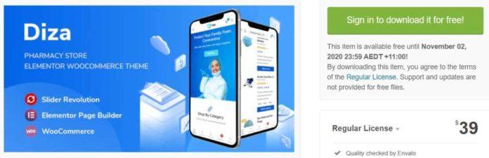 Diza - Pharmacy Store Elementor WordPress Free Themes