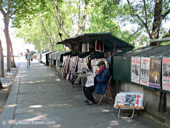 Book stalls along the Seine in Paris | WhyRoamTravel.com