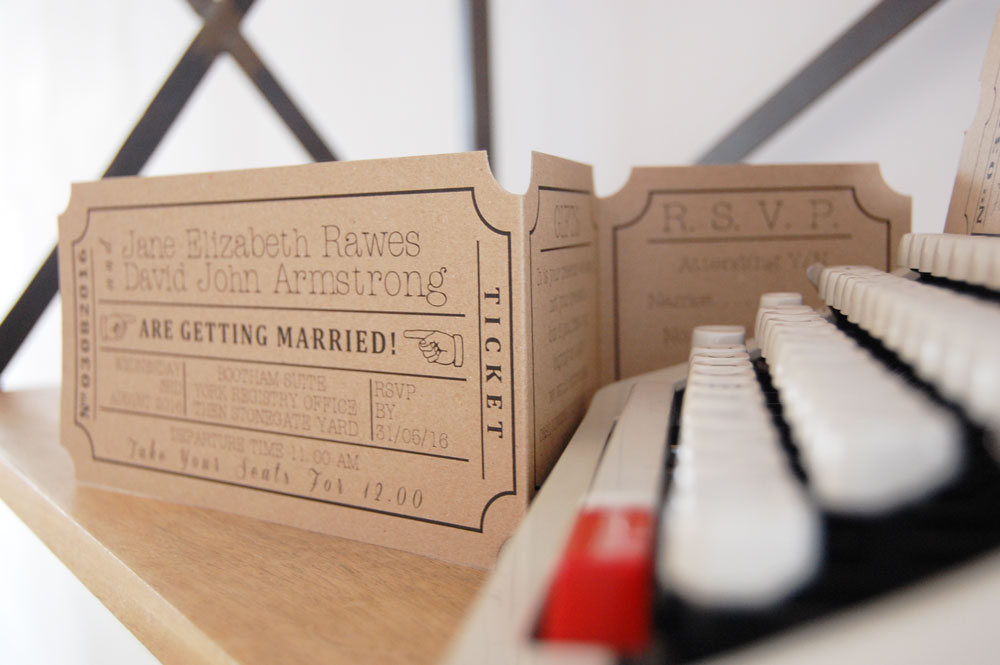 Luxury Vintage Ticket Wedding Invitation With Tear Off Rsvp Stub