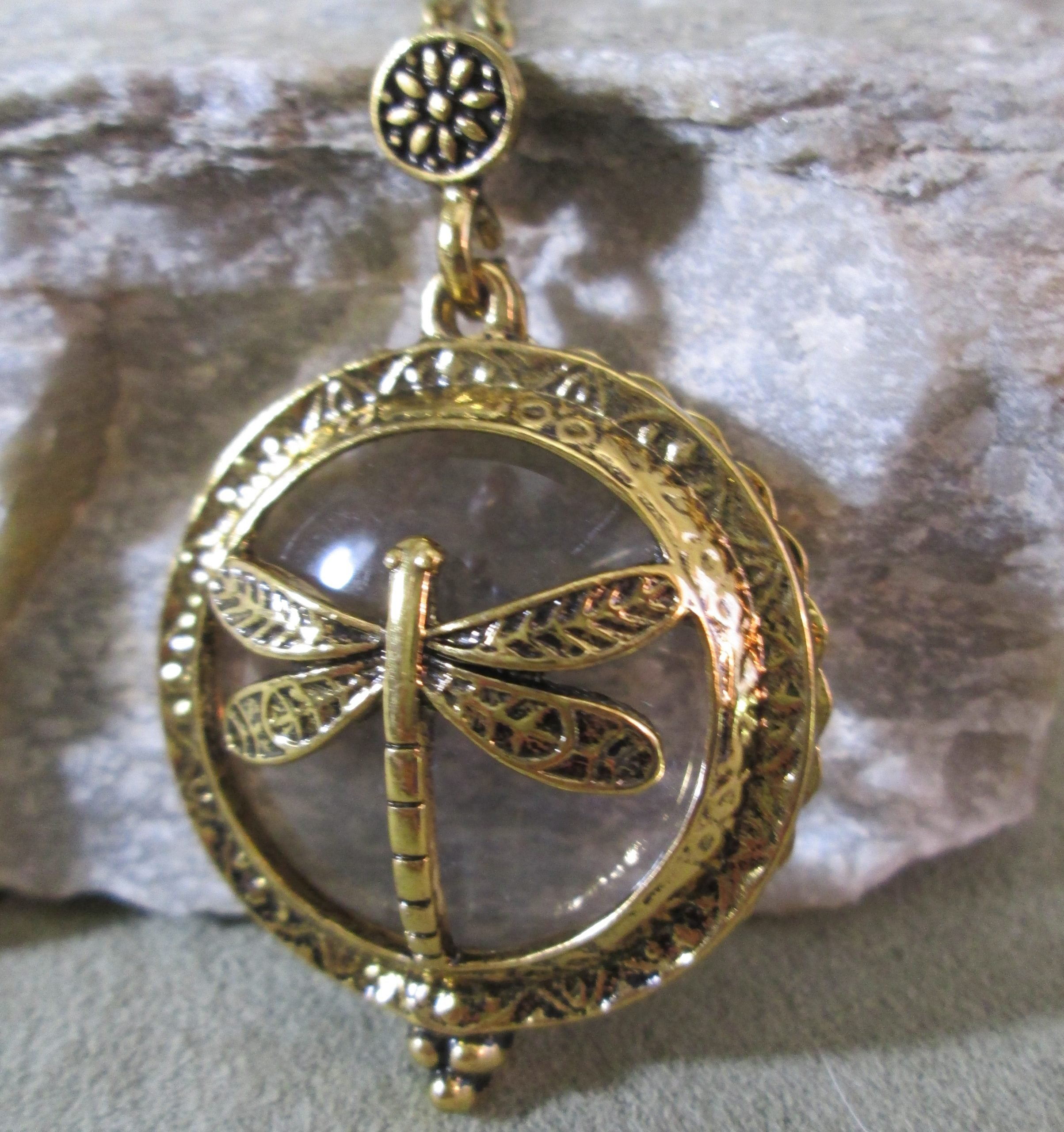 dragonfly loupe pendant