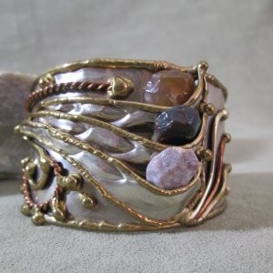 Mixed Metal Tumbled Stone Cuff