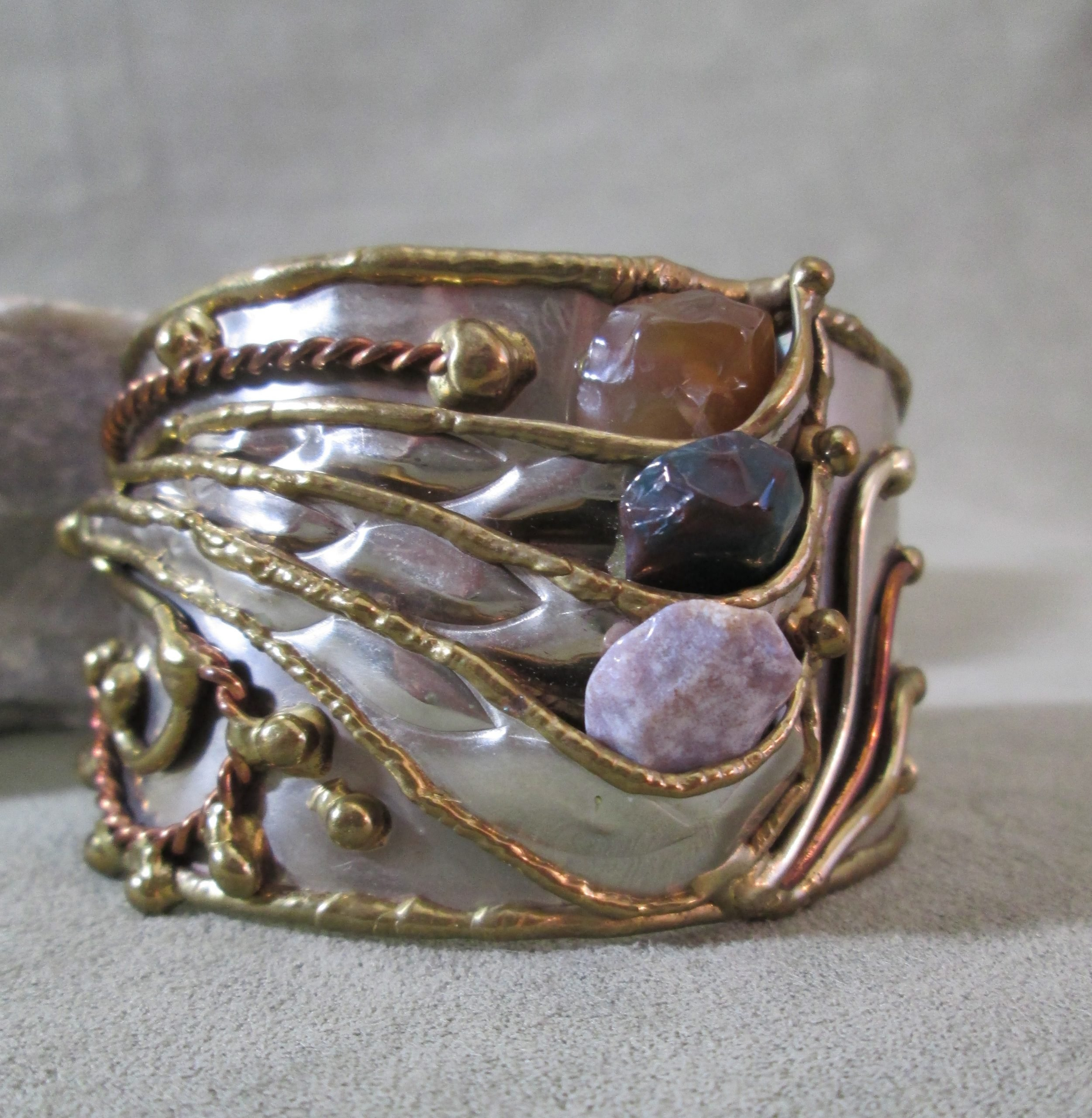 Mixed Metal 3 Stone Cuff