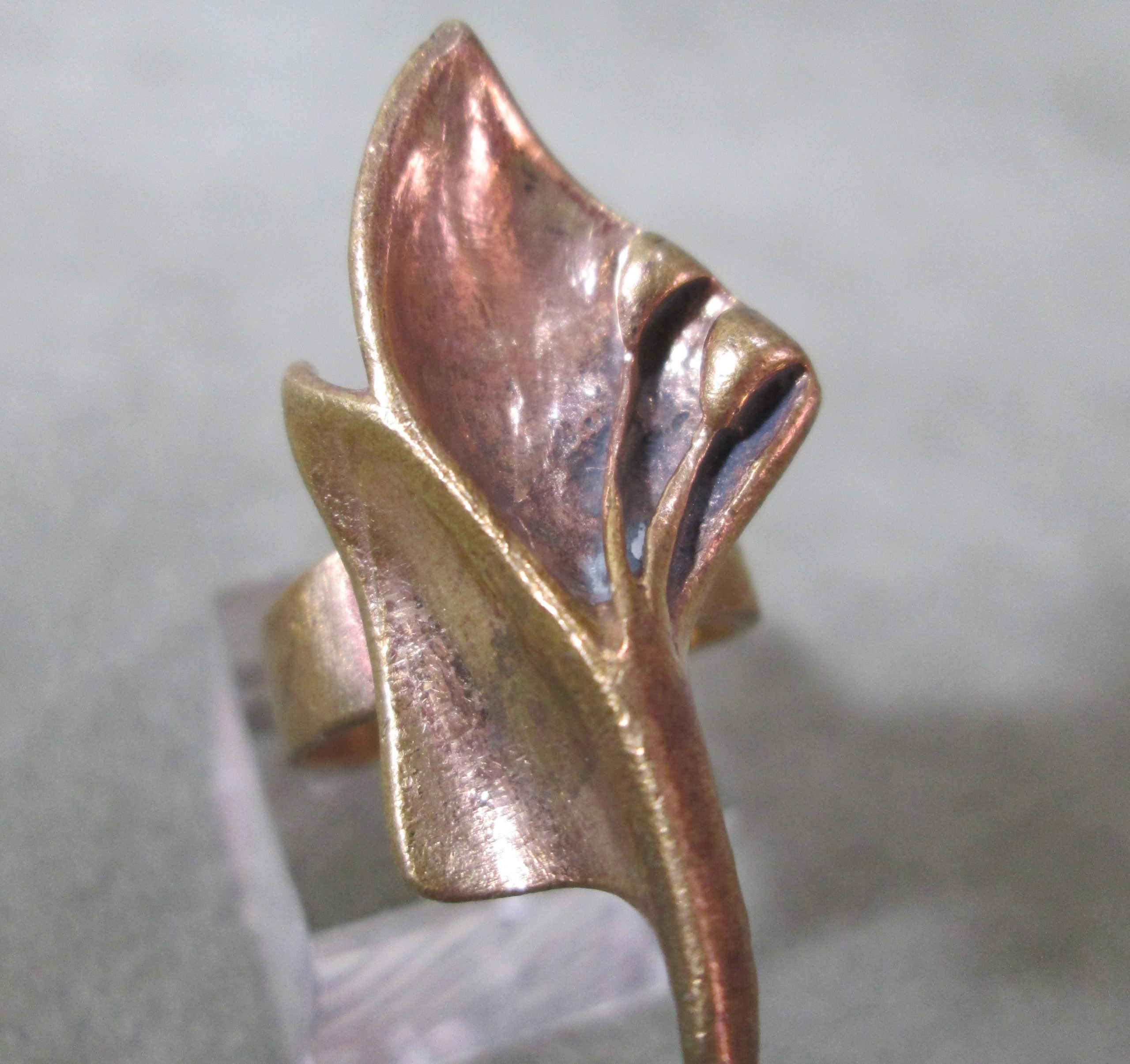 Artisan Copper Lily Ring