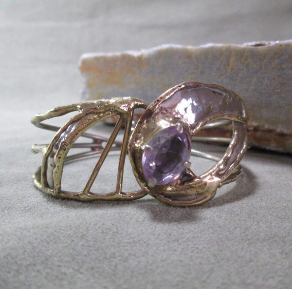mixed metal amethyst bracelet