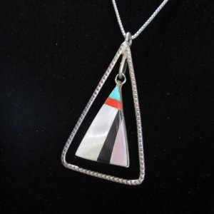pueblo inlaid mother of pearl pendant necklace