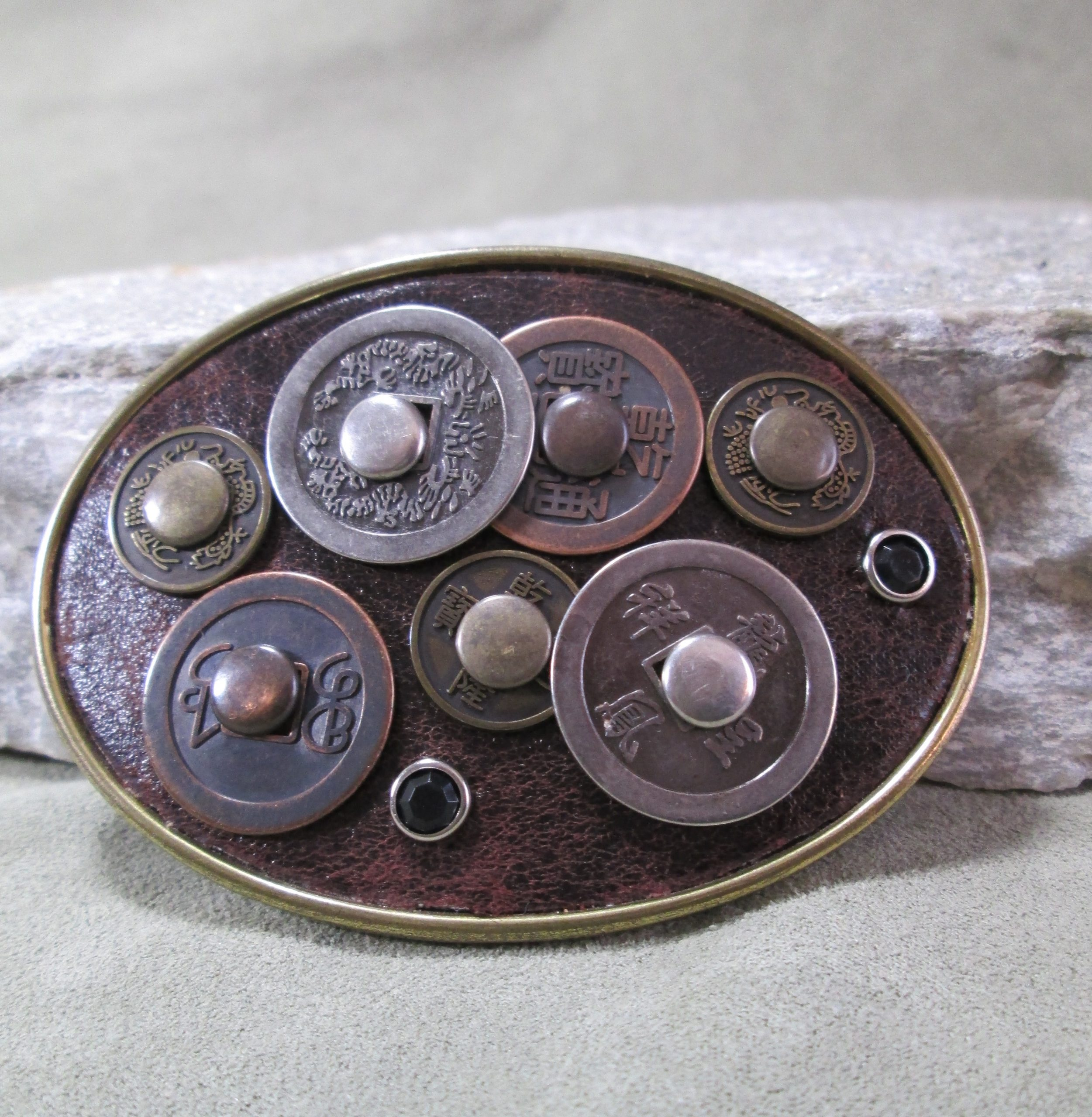 Chinoiserie coins belt buckle