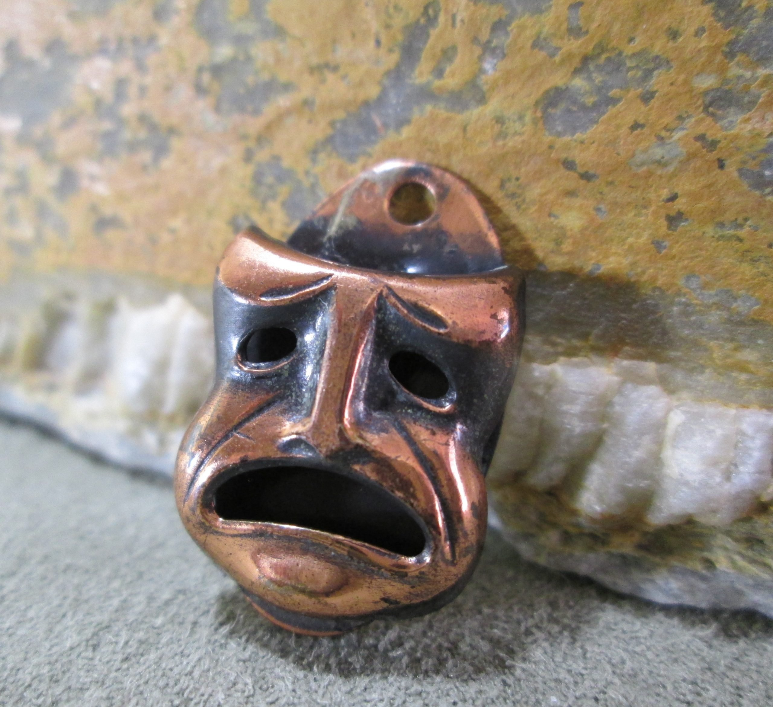 buskin tragedy theater mask copper bracelet charm